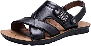 Sunhusing Men's Stylish Breathable Leather Beach Sandals Shoes Slides Outdoor Two-Wear Sandals Slippers