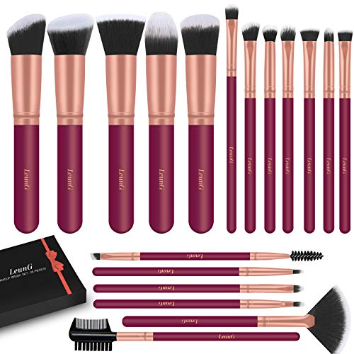 LEUNG Makeup Brushes 18 Pcs Makeup Brush Set Premium Synthetic Foundation Powder Concealers Eye shadows Blush Makeup Brushes Red