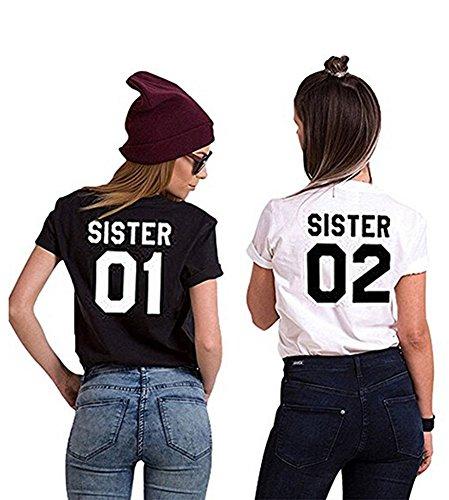 Minetom Femme Été Best Friends T Shirt Set Sister Imprimé Motif Été Tee Mode Chic Manches Court Tops Haut pour Deux Femmes Noir 01 FR 34
