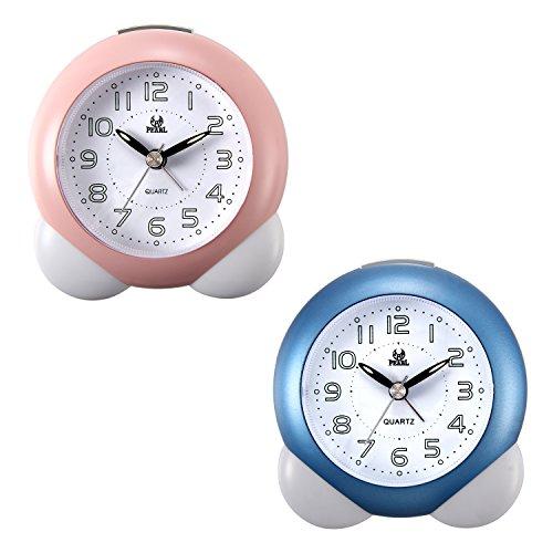 Lancardo 2pcs Jungen Alarm Clock, Glockenwecker Analog Quarzwecker mit Luminous Ziffer, Lauter Alarm,kein Ticken geräuschlos Alarm Wecker,blau pink