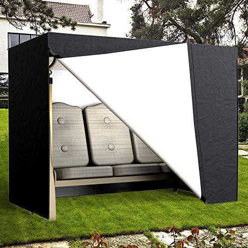 Funda protectora para columpio de 3 plazas, resistente al agua, cubierta para muebles de jardín Oxford 190T, 220 x 170 x 125 cm, color negro