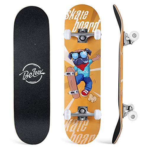 BELEEV Skateboard 31x8 Zoll Komplette Cruiser Skateboard für Kinder Jugendliche Erwachsene, 7-Lagiger Kanadischer Ahorn Double Kick Deck Concave mit All-in-one Skate T-Tool für Anfänger (Gelb)