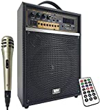 EMB 300 Watt Outdoor Indoor Wireless Portable PA Speaker 6.5 inch Subwoofer Sound System with Bluetooth, USB, SD Card Reader, Rechargeable Battery, Wired Microphone, FM Radio, Remote