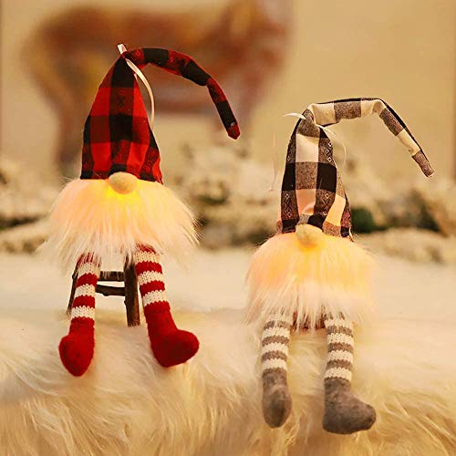 J-Toy Handmade Christmas Gnome Lights, Hanging 8 Inches Plush Gnome, Swedish Yule Santa Doll Faceless Doll Gifts for Christmas Tree Fireplace Home Decor (2pcs)