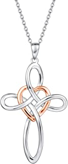White Gold Plated High Polished Real Sterling Silver Large Heavy Cross Celtic Knot Infinity Heart Pendant Necklace for Women Girls, 16