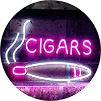 Cigars Lover Gifts Man Cave Room Dual Color LED看板 ネオンプレート サイン 標識 白色 + 紫 400 x 300mm st6s43-i0335-wp