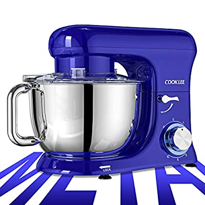 COOKLEE Stand Mixer, All-Metal Series 6.5 Qt. Kitchen Electric Mixer with Dishwasher-Safe Dough Hooks, Flat Beaters, Whisk & Pouring Shield Attachments for Most Home Cooks, SM-1515, Navy Blue