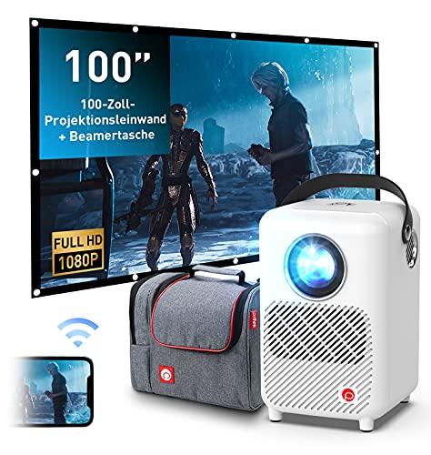 Proiettore Full HD, pixthink Native risoluzione 1080P, proiettore digitale Focus LED per Home Theater, Mini videoproiettore con 55000 Hrs, proiettore portatile per ambienti interni ed esterni