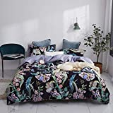 mixinni Floral Leaves Pattern Duvet Cover Full Black Duvet Cover Set Purple Bedding Set Pattern Duvet Cover with Zipper Closure Ties Luxury Quality Comfortable Easy Care(3pcs, Queen Size)