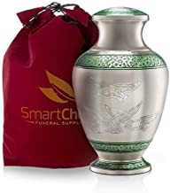 SmartChoice Wings of Freedom Cremation Urn for Human Ashes – Handcrafted Funeral Memorial Urn with Dove Motif in Elegant Green (Adult)