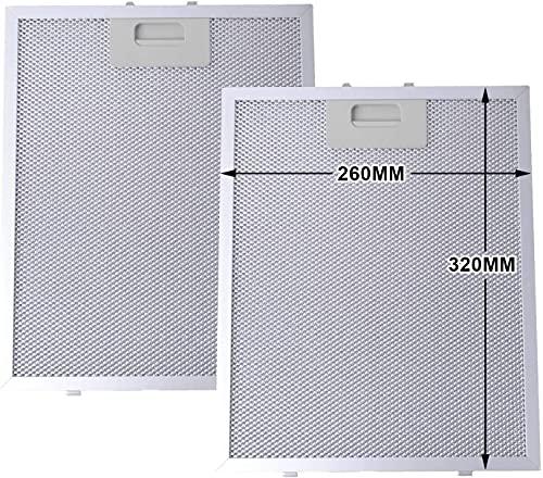 Metallfettfilter für Dunstabzugshauben, 320x260mm, Fettfilter mit Metallgitter für Küchenabzugshauben (2 Stück) von AllSpares®