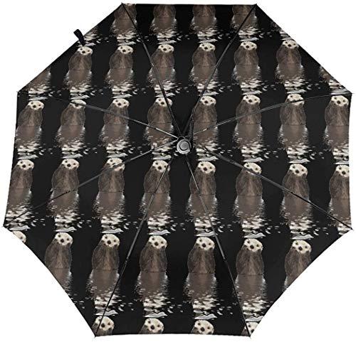 Cute Otters - Paraguas automático de tres pliegues para sombrilla