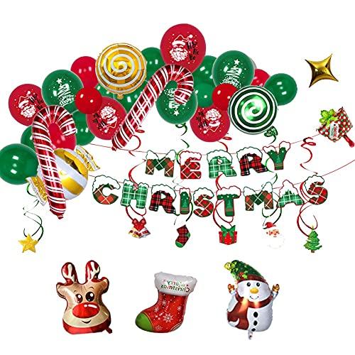 Wang Guozhang Frohe Weihnachten Ballon Banner Kits Weihnachten Rot Grün Karierte Flagge Aluminium Film Ballon Weihnachten Party Dekoration Ballons (Color : C)