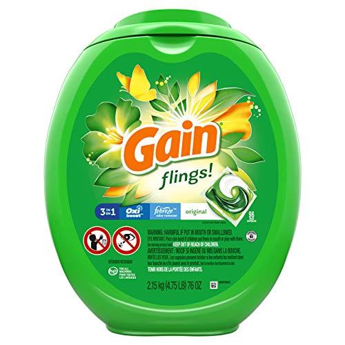 Gain flings! Liquid Laundry Detergent Pacs, Original Scent, HE Compatible, 96 Count