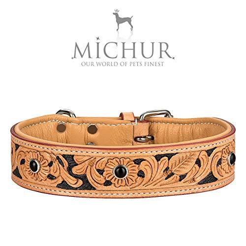 MICHUR Jose Hundehalsband Leder, Lederhalsband Hund, Halsband, Beige, Leder, mit gefärbten Bereichen in Schwarz und Schwarzen Steinen, in verschiedenen Größen erhältlich