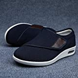 Chaussures De DiabèTe Sneakers,Élargissement des Chaussures de détente Velcro, Chaussures de gonflement des Pieds réglables-Blue_38,Chaussures Homme pour Personnes âgées aux Pieds enflés
