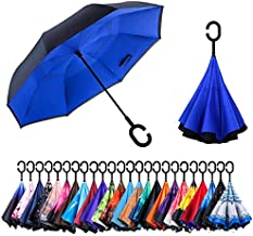 Newsight Reverse Umbrella, Double Layer Inverted Umbrella Upside Down, Self Stand, C Shape Handle, Inverse Inside Out Folding for Car, Windproof, Waterproof, Sun Protective (Blue Idea)