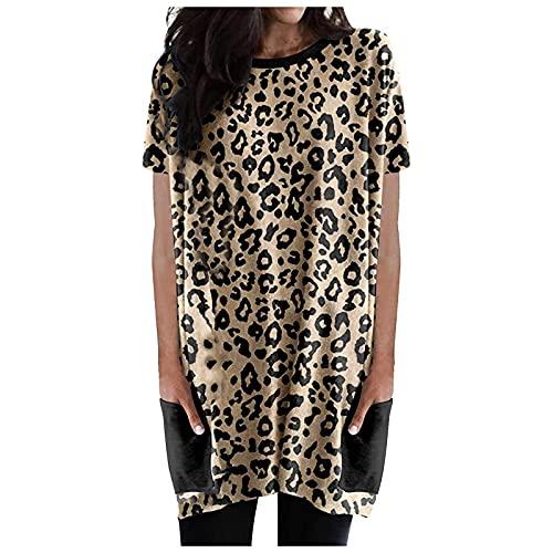 XOXSION Camiseta de verano para mujer, con cuello redondo, manga corta, camisa larga, camisa de manga corta, camisa con bolsillos B Marrón. M