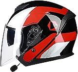 OOMEI Bluetooth Casco Jet para Moto Cascos Half-Helmet Casco Moto Jet con Doble Visera ECE Homologado Casco Abierto de la Motocicleta Casco para Adultos Hombres Mujeres (Color : B, Size : XL)