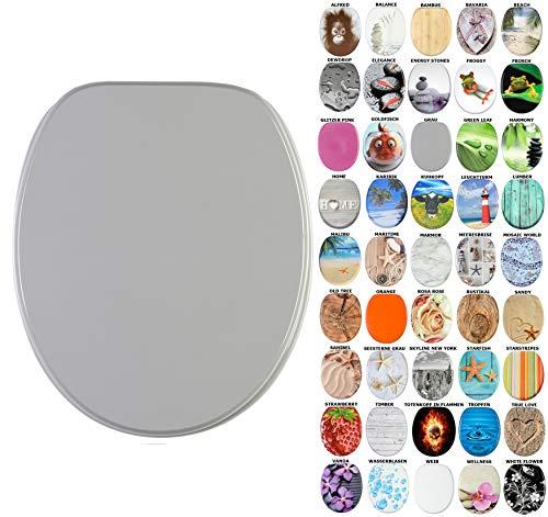 WC Sitz, viele schöne WC Sitze zur Auswahl, hochwertige und stabile Qualität aus Holz (Grau)