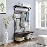 WOODEEM Entryway Bench with Coat Rack Shoe Bench, Mudroom Hall Tree with Storage Bench 12 Hooks, Large Size 39'W Popular Walnut Embossed Paper