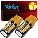 Yorkim 7440 Led Bulb Bright Amber Lights, T20 Led Bulbs, 7443 Led Bulbs, 7441 Led Bulbs, W21W Led Lights, 7444 Bulbs, for reverse/backup/brake light - 5730 33 SMD pack of 2