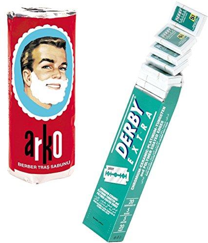Derby Extra Double Edge Razor Blades and Free Arko Shaving Cream Soap Stick
