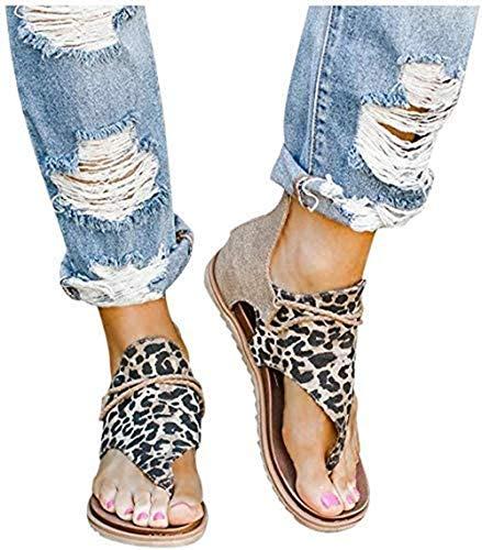 Vrouwen Platte Sandalen Vintage Leopard Print Flip Flop Schoenen Zomer Casual Antislip Gladiator Enkelband Sandalen met rits aan de Achterkant
