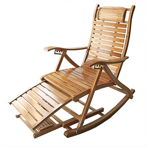 Ligstoelen schommelen fauteuil, patio massief hout bamboe breedte 4,5 cm Lounge stoel comfortabele gebogen rugleuning Perfect voor buiten binnen tuin zon ligstoel B