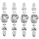 4 piezas Pomos de puerta de cristal, pomos de armario, tiradores de cajón de cristal de diamante Pomos de gabinete con manija de puerta(170 mm)