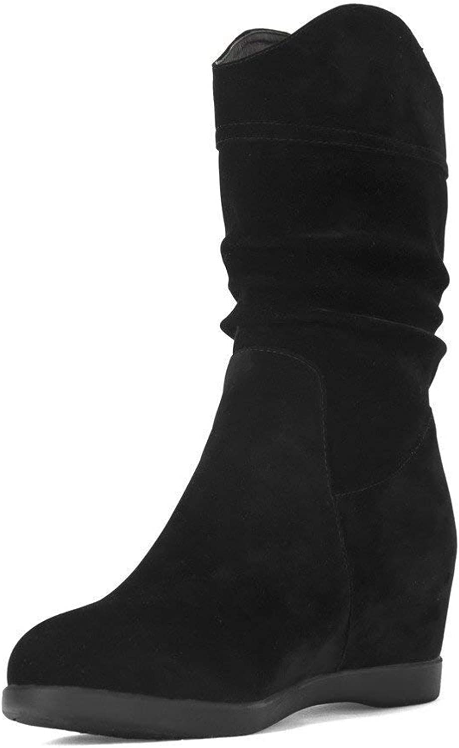 PRETTYHOMEL Women's Low-Heels Solid Round Closed Toe Frosted Pull-on Boots