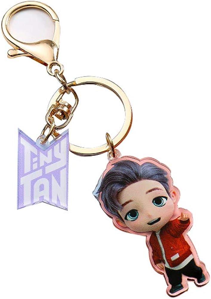 KPOP BTS Bangtan Boys New English Song Dynamite and Cartoon Tiny Tan Acrylic Key Chain Keyring Accesssories