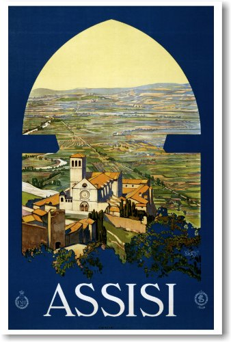 NEW Travel Vintage Art POSTER - Assisi Italy 1920
