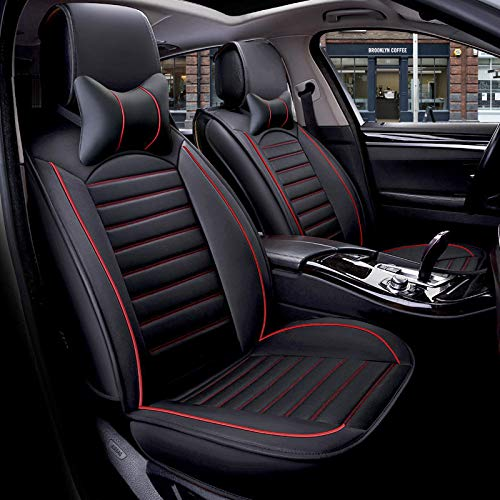 FREESOO Car Seat Cover Cushions PU Leather, Front Rear Full Set Car Seat Covers Universal for 5 Seats Vehicle Suitable for Year Round Use(Black Red 3)