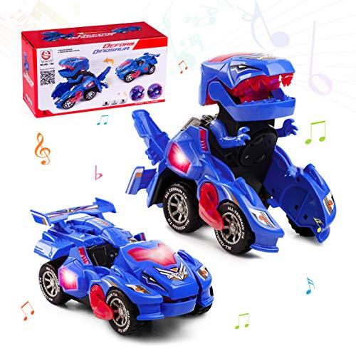 Highttoy Coche de Dinosaurio para Niños Niñas 3-7 Años Juguete Transformers de Dinosaurio Eléctrico Automática Transforme de Dinosaurio Coche Figura con Luces y Sonido Coche Juguete Dinosaurio Azul