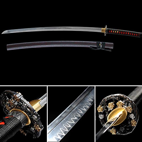 xinan2018 Wooden Scabbard Samurai Katana Real T10 1045 1060 1090 Battle Ready Hand Forged Damascus Carbon Steel Heat Tempered Full Tang Sharp Handmade Gold Wall Mount Steel