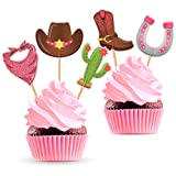 Cowgirl Party Cupcake Toppers - Western Cowboy Theme Birthday or Baby Shower Decorations Supplies - 25 PCS