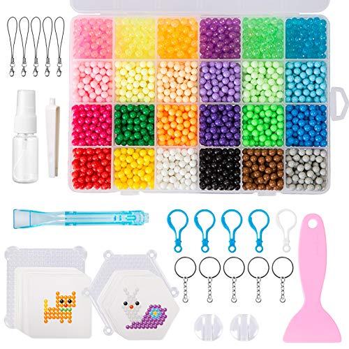 QIXINHANG LIHAO Bastelperlen Wasser Magische Bastelset Perlen Set Wasserperlen Beads Kinder DIY mit Zubehör in Organizerbox (5 mm, 24 Farben, 3500 STK.) (Mehrweg)