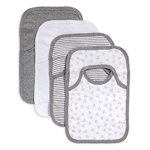 Burt's Bees Baby - Bibs, 4-Pack Lap-Shoulder Drool Cloths, 100% Organic Cotton with Absorbent...