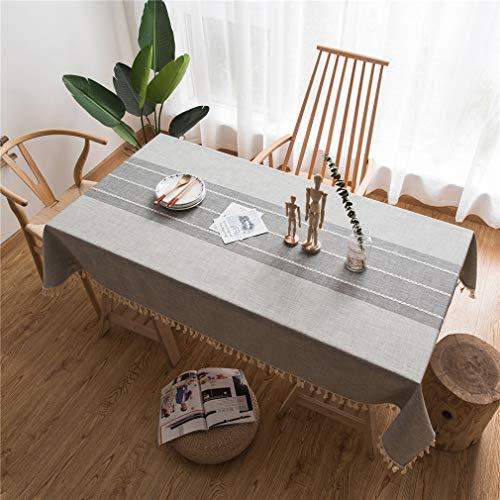 X-Labor Abwaschbar Tischdecke mit Quaste Eckig Wasserdicht Baumwolle Leinen Tischtuch Tischwäsche Pflegeleicht Garten Zimmer Tischdekoration Grau 140 * 200cm