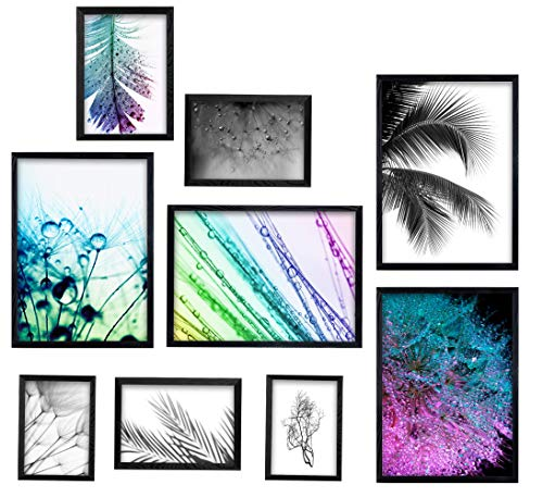 postergaleria Bilderrahmen | Schwarz |9er Satz | Holz | Plexiglas | 4 Größen | Posterrahmen | Fotorahmen | 4x21x30 | 2x15x21 | 2x10x15 | 1x15x20