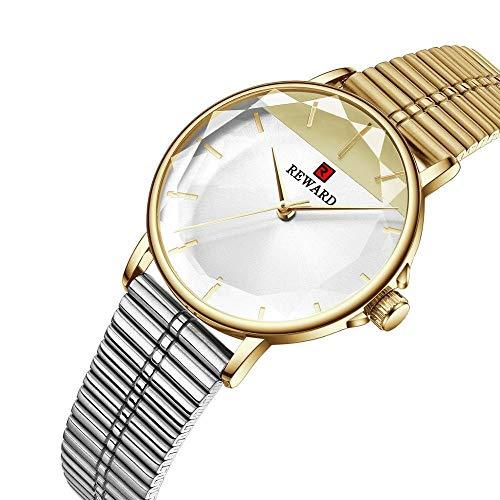 JIADUOBAO -S fin de año gracias por las ventas de los relojes de las mujeres de lujo de la marca de cristal de cuarzo reloj señoras malla de acero inoxidable impermeable regalo S (color: oro plata)