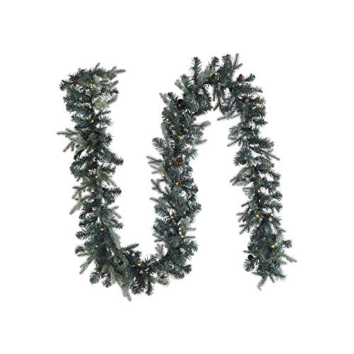 NOMA Pre-lit 9-Ft LED Mini Pinecone Christmas Garland with Battery Operated Lights | 50 Warm White Bulbs | 425 Pine Tips