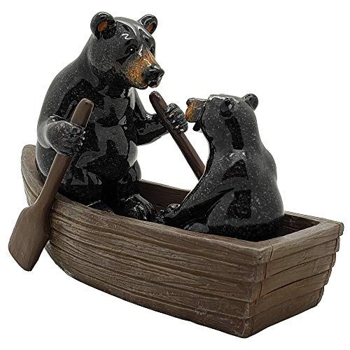 Pacific Giftware Animal World Black Bears Family in Canoe...