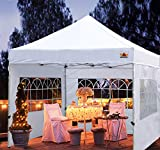 ABCCANOPY Outdoor Canopy Tent 10x10 Gazebo Pop Up Party Tent Wedding Instant Shelter with Elegant Church, Bonus Carrying Case/Bag, White