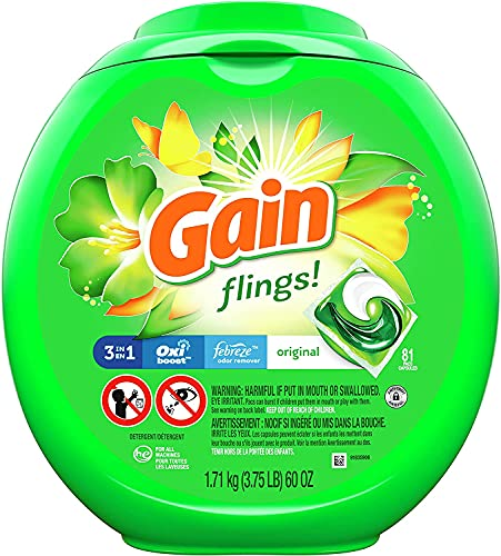 Laundry Detergent Soap Pacs, High Efficiency (HE), Original Scent, 81 Count (1 Box (Flings)