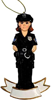 Female Police Officer Personalizable Ornament [A1628A]