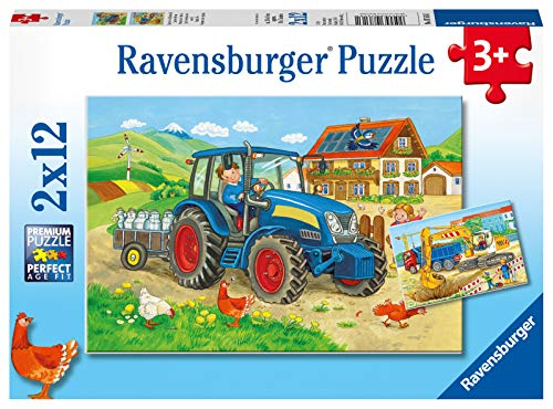Ravensburger Kinderpuzzle - 07616 Baustelle und Bauernhof - Puzzle für Kinder ab 3 Jahren, mit 2x12 Teilen