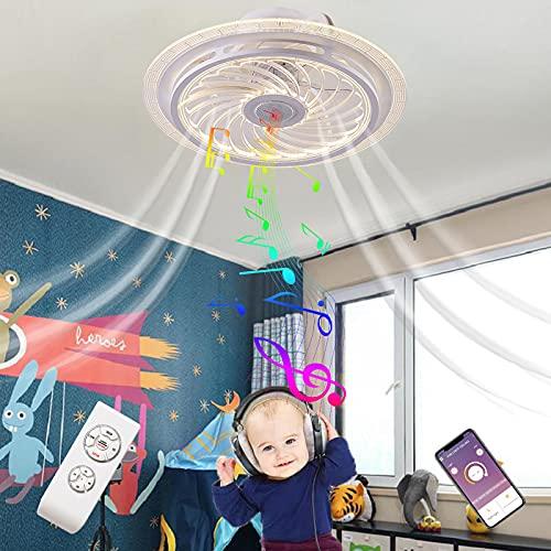 LED Plafoniera Bluetooth Altoparlante Ventilatore a Soffitto con Luce Musicale Silenzioso Telecomando Lampadario Ventilatore Soffitto Lampada Illuminazione Dimmerabile Camera da Letto Soggiorno