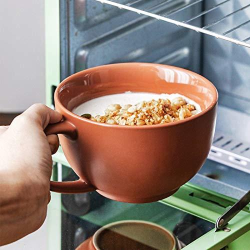HUANXA Grande Taza De Café Cuenco Tazas De Sopa, Calentador De Cerámica Tazón De Sopa con Agarre Tazas De Café Taza Cereales Taza De Desayuno -rojo-480ml/16.2oz